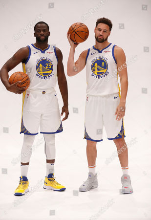 Golden State Warriors guard Klay Thompson (R) and Warriors forward Draymond Green (L) pose for a photo  during the Golden State Warriors 2019-20 season Media Day at the Chase Center, the new home of the Golden State Warriors in San Francisco, California, USA, 30 September 2019.