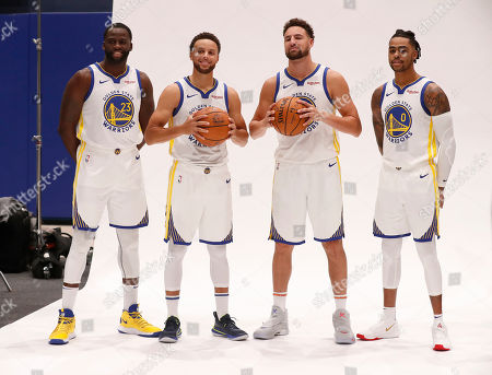Golden State Warriors guard Stephen Curry (2-L), Klay Thompson (2-R), Warriors forward Draymond Green (L), and Warriors guard DÕAngelo Russell (R) pose for a photo  during the Golden State Warriors 2019-20 season Media Day at the Chase Center, the new home of the Golden State Warriors in San Francisco, California, USA, 30 September 2019.