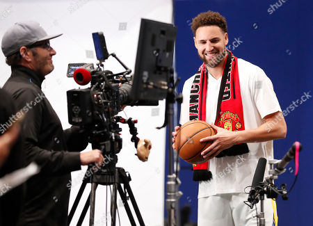 Golden State Warriors guard Klay Thompson (R) reacts during an interview at the Golden State Warriors 2019-20 season Media Day at the Chase Center, the new home of the Golden State Warriors in San Francisco, California, USA, 30 September 2019.