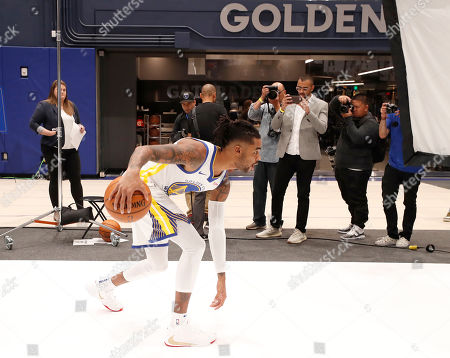 Stock Photo of Golden State Warriors guard D'Angelo Russell poses during the Golden State Warriors 2019-20 season Media Day at the Chase Center, the new home of the Golden State Warriors in San Francisco, California, USA, 30 September 2019.