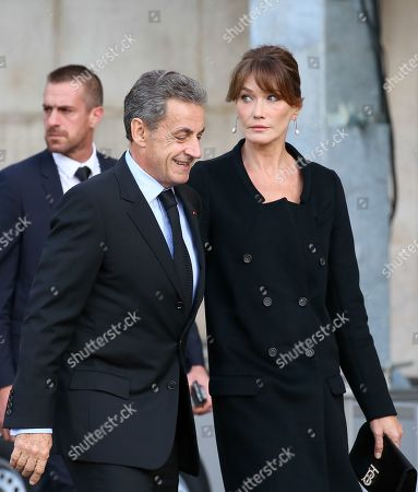 Stock Picture of Former French president Nicolas Sarkozy and wife Carla Bruni-Sarkozy