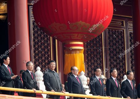 Chinese President Xi Jinping, third from left, with former presidents Jiang Zemin, fourth from right, and Hu Jintao, second from left, attend the celebration to commemorate the 70th anniversary of the founding of Communist China in Beijing
