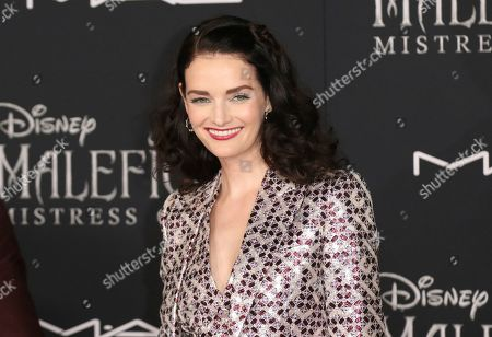 """Lydia Hearst arrives at the world premiere of """"Maleficent: Mistress of Evil"""", at the El Capitan Theatre in Los Angeles"""