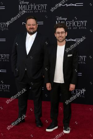 "Noah Harpster, Micah Fitzerman-Blue. Noah Harpster, left, and Micah Fitzerman-Blue arrive at the world premiere of ""Maleficent: Mistress of Evil"", at the El Capitan Theatre in Los Angeles"