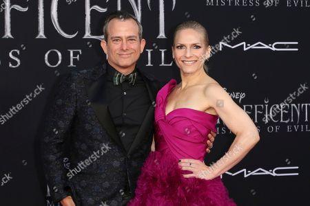 "Geoff Zanelli, Jen Jardine. Geoff Zanelli, left, and Jen Jardine arrives at the world premiere of ""Maleficent: Mistress of Evil"", at the El Capitan Theatre in Los Angeles"
