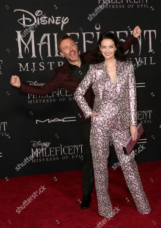 """Chris Hardwick, Lydia Hearst. Chris Hardwick, left, and Lydia Hearst arrive at the world premiere of """"Maleficent: Mistress of Evil"""", at the El Capitan Theatre in Los Angeles"""