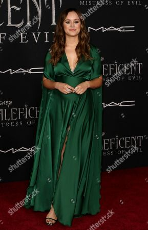 """Hayley Orrantia arrives at the world premiere of """"Maleficent: Mistress of Evil"""", at the El Capitan Theatre in Los Angeles"""