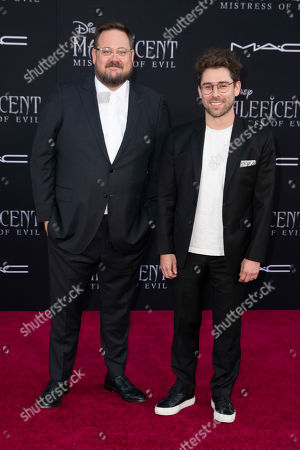 Noah Harpster (L) and US TV producer and screenwriter Micah Fitzerman-Blue (R) pose on the red carpet prior to the premiere of the film 'Maleficent Mistress of Evil' at El Capitan Theater in Los Angeles, California, USA, 30 September 2019. The movie will be released in US theaters on 18 October.