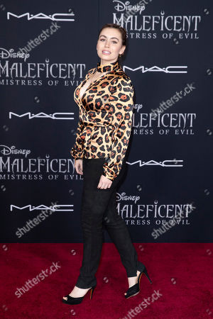 Sophie Simmons, the daughter of US-Israeli musician Gene Simmons, poses on the red carpet prior to the premiere of Disney's 'Maleficent Mistress of Evil' at El Capitan Theater in Los Angeles, California, USA, 30 September 2019. The movie will be released in US theaters on 18 October.