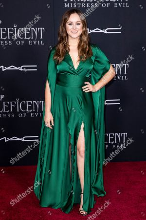 Hayley Orrantia poses on the red carpet prior to the premiere of Disney's 'Maleficent Mistress of Evil' at El Capitan Theater in Los Angeles, California, USA, 30 September 2019. The movie will be released in US theaters on 18 October.