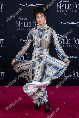 Sofia Wylie poses on the red carpet prior to the premiere of Disney's 'Maleficent Mistress of Evil' at El Capitan Theater in Los Angeles, California, USA, 30 September 2019. The movie will be released in US theaters on 18 October.