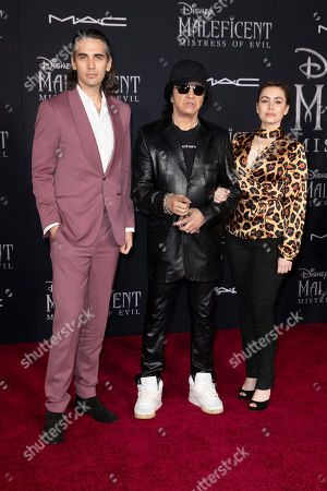 Gene Simmons (C) and his children Nick Simmons (L) and Sophie Simmons pose on the red carpet prior to the premiere of Disney's 'Maleficent Mistress of Evil' at El Capitan Theater in Los Angeles, California, USA, 30 September 2019. The movie will be released in US theaters on 18 October.