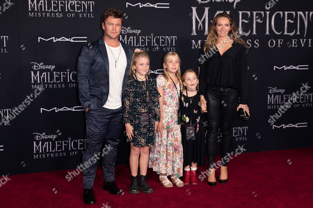 Luke Hemsworth (L), his wife Samantha Hemsworth (R) and their children pose on the red carpet prior to the premiere of Disney's 'Maleficent Mistress of Evil' at El Capitan Theater in Los Angeles, California, USA, 30 September 2019. The movie will be released in US theaters on 18 October.