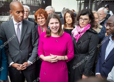 Liberal Democrat Leader Jo Swinson (C) stands with fellow MPs Chuka Umunna (L), Layla Moran and Sam Gyimah (R) as she makes a statement outside Parliament. Earlier a meeting of opposition leaders was held to discuss a plan to force the Prime Minister to go to Brussels to seek another Brexit delay as early as this weekend.