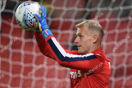 1st October 2019, Bet365 Stadium, Stoke-on-Trent, England; Sky Bet Championship, Stoke City v Huddersfield Town : Adam Davies (16) of Stoke City during the pre match warm up. Credit: Richard Long/News Images