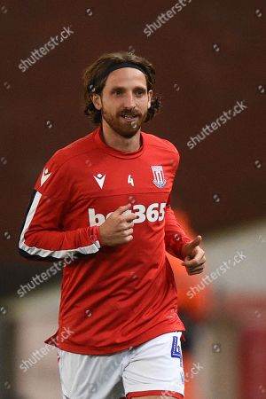 1st October 2019, Bet365 Stadium, Stoke-on-Trent, England; Sky Bet Championship, Stoke City v Huddersfield Town : Joe Allen (4) of Stoke City during the pre match warm up.