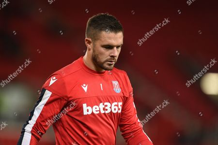 1st October 2019, Bet365 Stadium, Stoke-on-Trent, England; Sky Bet Championship, Stoke City v Huddersfield Town : Jack Butland (1) of Stoke City during the pre match warm up.