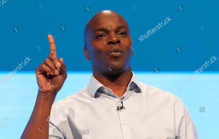 Shaun Bailey, Conservative Party Candidate for the 2020 London mayoral election, speaks at the Conservative Party Conference in Manchester, England, . Britain's ruling Conservative Party is holding their annual party conference