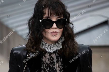 Stock Image of Isabelle Adjani attends the Chanel Ready To Wear Spring-Summer 2020 collection, unveiled during the fashion week, in Paris