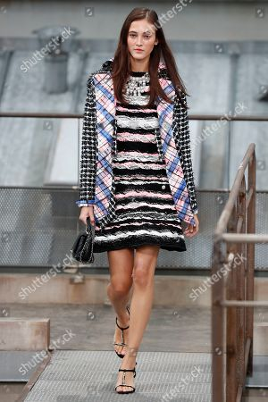 Stock Image of Italian model Greta Varlese presents creations from the Spring/Summer 2020 Women's collection by French designer Virginie Viard for Chanel fashion house during the Paris Fashion Week, in Paris, France, 01 October 2019. The presentation of the Women's collections runs from 23 September to 01 October.