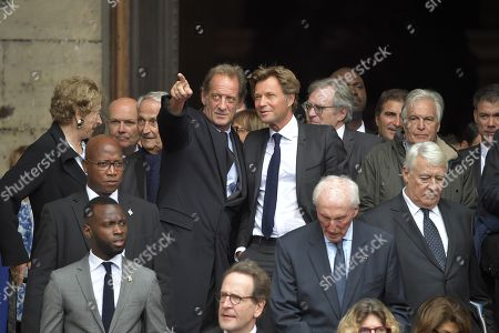 French actor Vincent Lindon, French TV personality Laurent Delahousse and Gilles Le Gendre attend the solemn service at St Saint-Sulpice church