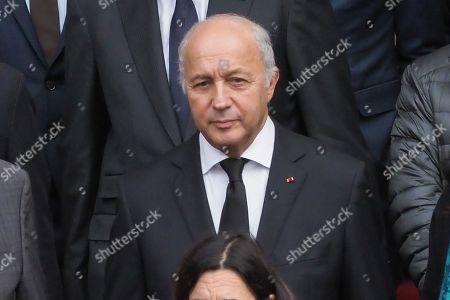 Laurent Fabius attends the solemn service at St Saint-Sulpice church