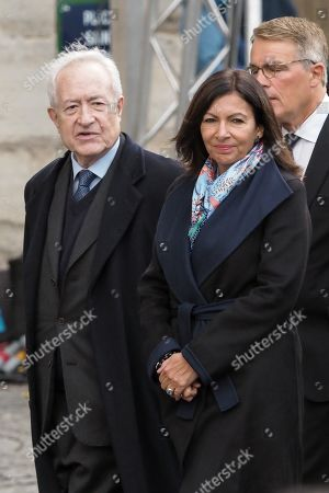 Jean Tiberi and Anne Hidalgo attends the solemn service at St Saint-Sulpice church