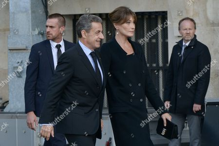 Stock Image of Carla Bruni-Sarkozy and Nicolas Sarkozy attend the solemn service at St Saint-Sulpice church