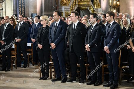 Claude Chirac, the daughter of France's former President Jacques Chirac, her son Martin Rey-Chirac and her husband Frederic Salat-Baroux attend the solemn service at St Saint-Sulpice church