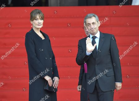 French former president Nicolas Sarkozy and Carla Bruni-Sarkozy attend the solemn service at St Saint-Sulpice church