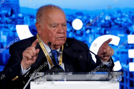 Stock Image of Enrique V. Iglesias, CEAPI Honorary President, delivers a speech during the Biennial Ibero-American Congress held in the framework of 3rd Alliance Business Council for Latin America (CEAPI) congress in Madrid, Spain, 01 October 2019. The summit runs until 02 October.