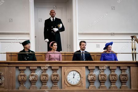 The Royal Family, (L-R) Princess Benedikte, Crown Princess Mary, Crown Prince Frederik and Queen Margrethe II during the opening of Danish Parliament Folketinget at Christiansborg in Copenhagen, Denmark, 01 October 2019.