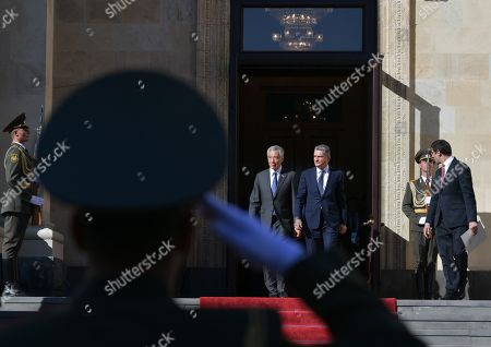 Stock Picture of Eurasian Economic Commission Chairman of the Board Tigran Sargsyan (C-R) and Singapore's Prime Minster Lee Hsien Loong (C-L) walk before a meeting of the Supreme Eurasian Economic Council in Yerevan, Armenia, 01 October 2019. Singapore's Prime Minster attends the Supreme Eurasian Economic Council meeting the as an honorary guest.