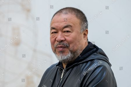 Chinese artist Ai Weiwei during a press preview at the Lisson Gallery, in London, Britain, 01 October 2019. The exhibition runs from 02 October to 02 November 2019 and features a new series of monumental sculptural work in iron cast from giant tree roots sourced in Brazil.