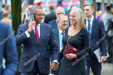 James Cleverly and Susannah Cleverly at the Conservative Conference today on the third day of the Conservative Party Conference at Manchester Central in Manchester.