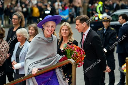 Denmark's Queen Margrethe II (front) arrives for the opening of the Danish Parliament at Christiansborg Palace in Copenhagen, 01 October 2019. Others are not identified.
