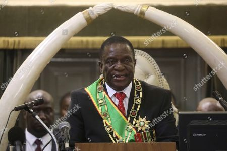 Zimbabwean President Emmerson Mnangagwa delivers his State of the nation address at the opening session of parliament in Harare, . Zimbabwe's opposition lawmakers have walked out of Parliament as President Emmerson Mnangagwa presented his state of the nation address, a sign of the political tensions still gripping the country