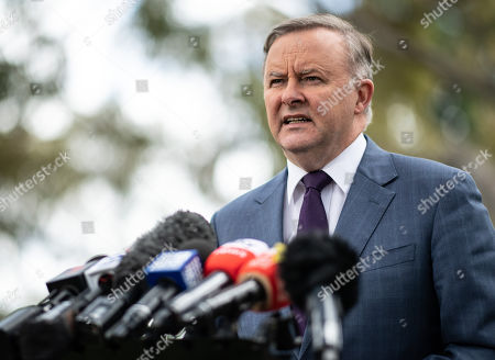 Opposition leader Anthony Albanese speaks to the media during a press conference in Marrickville, Sydney, New South Wales, Australia, 01 October 2019. Albanese discussed the claims US President Trump asked Prime Minister Morrison for Australia's help in investigating the origins of the Mueller investigation into Russian election interference.