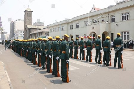 Members of the Presidential Guard stand in attention outside the House of Parliament in Harare, Zimbabwe, 01 October 2019. Zimbabwean President Emmerson Mnangagwa has opened officially the second session of the Ninth Parliament of Zimbabwe and addressed parliamentarians on the state of the nation.