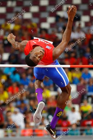 Luis Enrique Zayas of Cuba competes in the men's High Jump qualification during the IAAF World Athletics Championships 2019 at the Khalifa Stadium in Doha, Qatar, 01 October 2019.