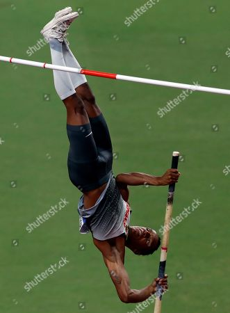 Stock Picture of Raphael Holzdeppe of Germany competes in the men's Pole Vault final during the IAAF World Athletics Championships 2019 at the Khalifa Stadium in Doha, Qatar, 01 October 2019.