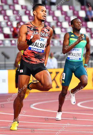 Julian Jrummi Walsh (L) of Japan in action during the men's 400m heats at the IAAF World Athletics Championships 2019 at the Khalifa Stadium in Doha, Qatar, 01 October 2019.