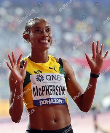 Stephenie Ann McPherson of Jamaica greets the crowd before competing in the women's 400m semi finals at the IAAF World Athletics Championships 2019 at the Khalifa Stadium in Doha, Qatar, 01 October 2019.