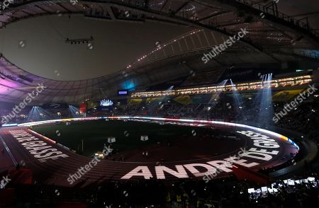 The name of Canada's Andre de Grasse is projected onto the track before the men's 200m final at the IAAF World Athletics Championships 2019 at the Khalifa Stadium in Doha, Qatar, 01 October 2019.