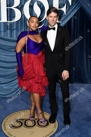 US model Paloma Elsesser (L) and guest arrive for the Business of Fashion, BoF 500 gala held at the Hotel de Ville in Paris, France, 30 September 2019 (issued 01 October 2019).