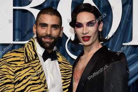 Stock Picture of US journalist Phillip Picardi (L) and US model Miss Fame (R) arrive for the Business of Fashion, BoF 500 gala held at the Hotel de Ville in Paris, France, 30 September 2019 (issued 01 October 2019).