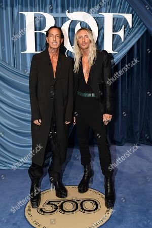 Rick Owens and a model friend arrive for the Business of Fashion, BoF 500 gala held at the Hotel de Ville in Paris, France, 30 September 2019 (issued 01 October 2019).