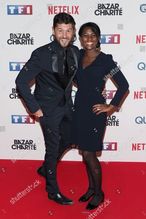 "Stock Picture of Christophe Beaugrand and a guest attending ""Le Bazar de la Charite"" TF1 Serie premiere at the Grand Rex on September 30, 2019 in Paris, France.//03VULAURENT_20190930VU0376/1910010144/Credit:LAURENT VU/SIPA/1910010149"