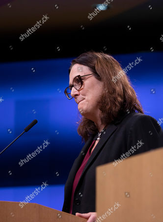 European Commissioner for Trade Cecilia Malmstrom speaks during a media conference after an informal lunch of EU trade ministers at the Europa building in Brussels, . The World Trade Organization ruled in May that Europe illegally subsidized Airbus, hurting U.S. competitor Boeing. The WTO is set shortly to allow President Donald Trump to slap tariffs worth billions of euros on European products, including wine, cheese and olives, in response
