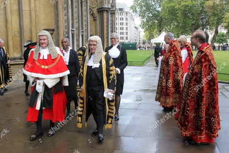 Stock Picture of The Right Honourable The Lord Burnett of Maldon, Lord Chief Justice of England and Wales and The Right Honourable Robert Buckland QC MP, Lord Chancellor and Secretary of State for Justice meet The Dean after the service